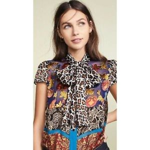 Alice and olivia Jeanine patchwork tie-neck blouse